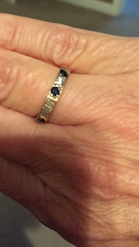 Hand crafted real diamond and sapphire 14k gold band!