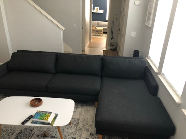 Mid century modern style sofa with right chaise