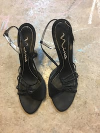 pair of black open-toe ankle strap heels 231 mi
