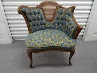 tufted yellow and blue floral loveseat with cabriole leg