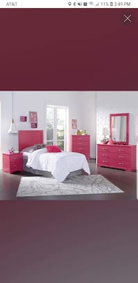 red wooden bed frame with text overlay Columbus, 43232