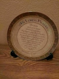 round brown and white The Lord's Prayer decorative plate