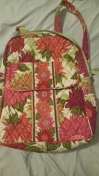 white, pink and green floral printed backpack Calera, 35040