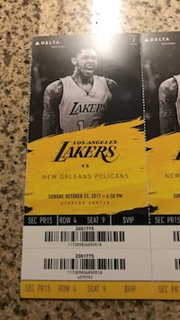Los Angeles Lakers Vs new Orleans Pelicans ticket Oxnard, 93033