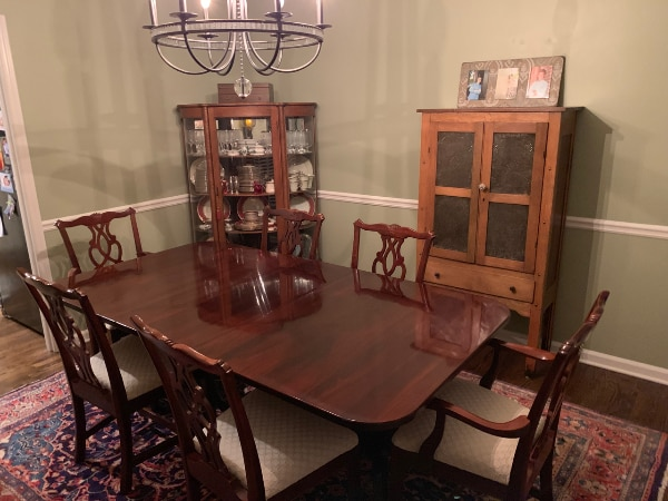 Cherry Dining Table And Chairs Double Pedestal By Lexington