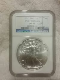 2012 round silver Eagle $1 Early releases MS 69 co Urbana, 43078