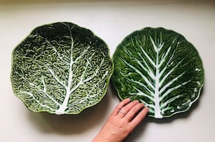 SET OF TWO vintage cabbage serving dishes