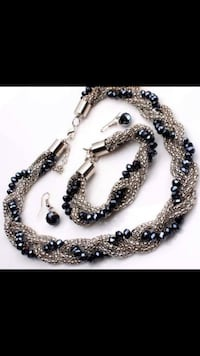 Crystal Glass Alloy Chain Necklace, Bracelet & Earrings Set Jewelry Vancouver, V5X 1A7