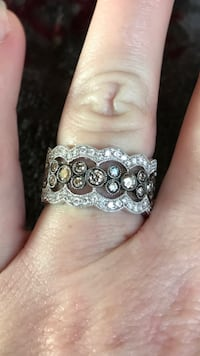 Solid 14K White Gold and Diamond LeVian Ring St Francis, 53235