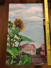 Sunflower Painting With Houses In Back Round Unframed! Madison