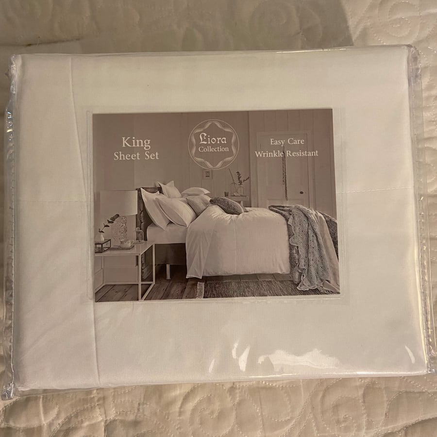 King size sheets white brand new in package