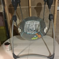 Gray and black portable swing