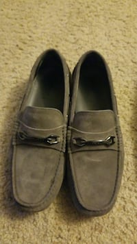 pair of gray suede loafers
