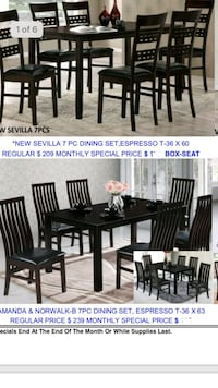 rectangular brown wooden table with six chairs dining set Santa Ana