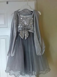 Little girl's grey sequined tank dress with scarf