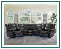 Black Lighted Sectional w Power Recliners Windsor Mill