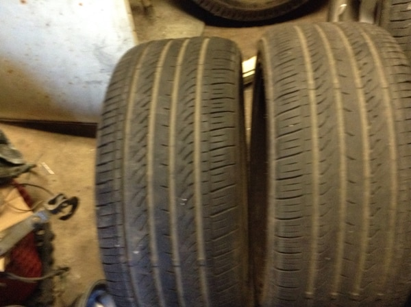 Two black car tires set