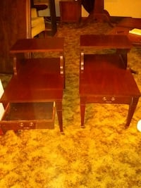 Antique end tables with drawers amd brass casters 132 mi