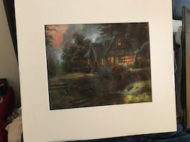Cottage in the forest oil painting on canvas