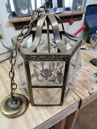 Brushed brass looking hanging light fixture