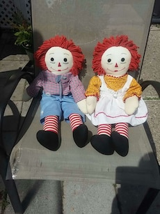 Lg Vintage Hand Made Raggedy Ann and Andy