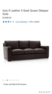 Brown leather sleeper sofa WASHINGTON