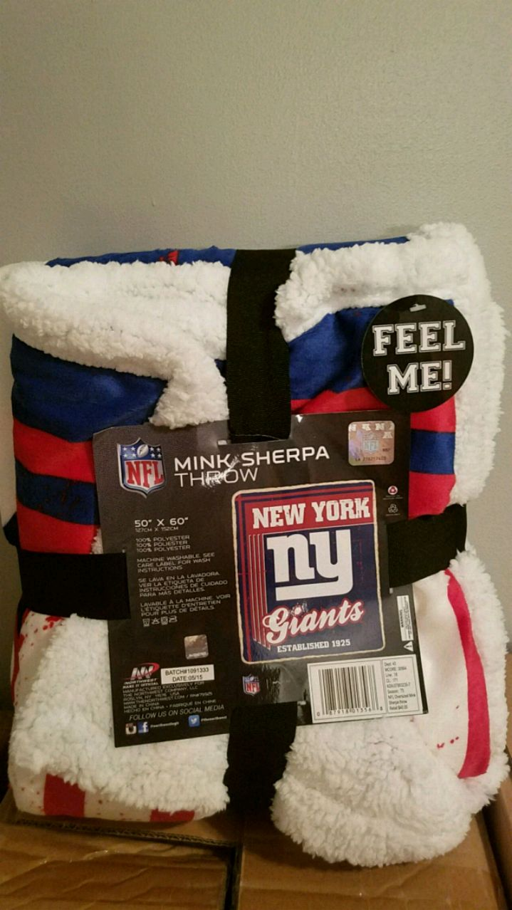 Photo NY GIANTS MINK SHERPA THROW