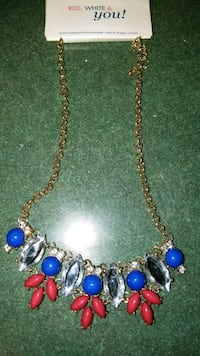 gold and blue beaded necklace Collinsville, 62234