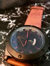 round black chronograph watch with brown leather s Los Angeles, 91356