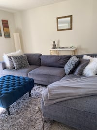 Two piece gray fabric sofa sectional with throw pillows. )(White pillows not included)Good condition..,114 inches length altogether x 33 width. Separate chaise lounge is 35 x 69width and couch 80 x 33width. Seat depth 24x34.. 7inches height Decatur, 30034