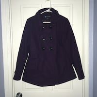 Relativity purple wool blend peacoat with buttons, medium