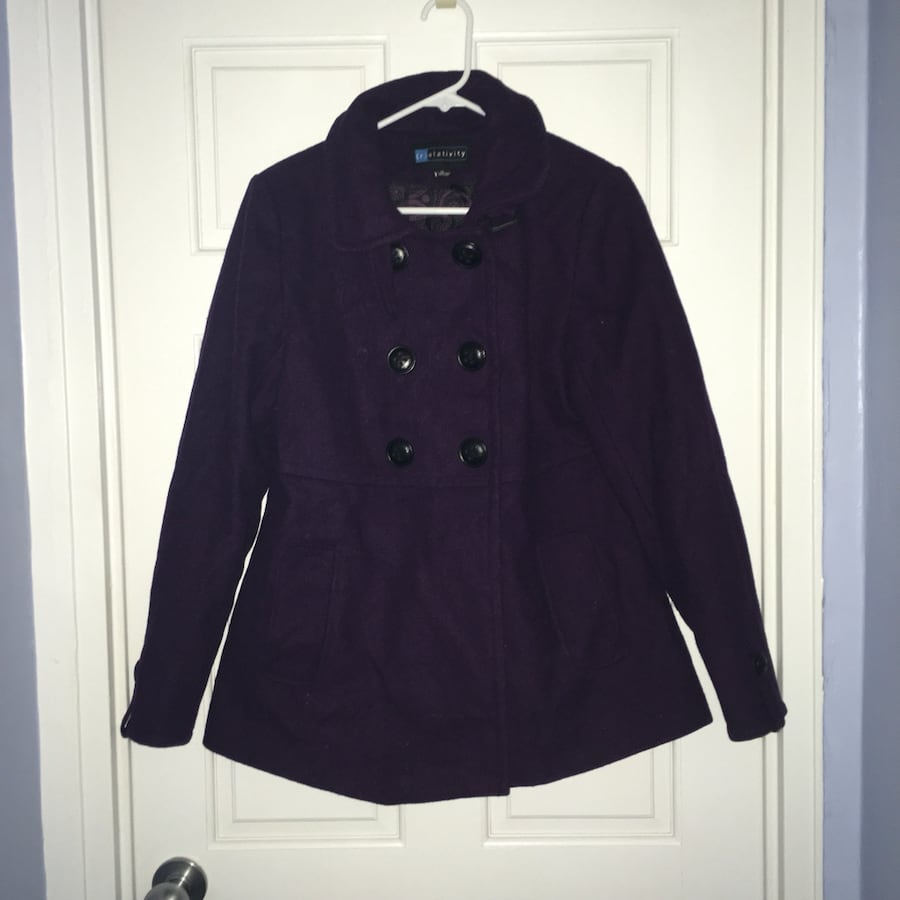 Relativity purple wool blend peacoat, medium