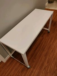 CB2 White Metal Desk