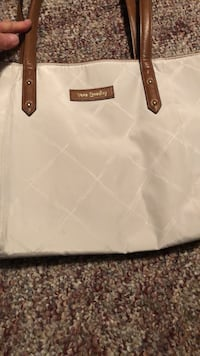 white and brown leather tote bag 623 mi