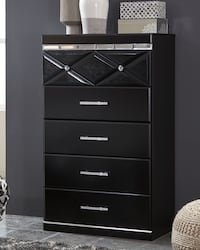 Black Five Drawer Chest