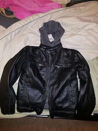 Boys Buckle Leather Jacket with removable hoodie