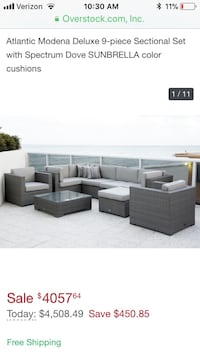 Atlantic Modena Deluxe 9-piece sectional set with spectrum dove sunbrella color cushions screenshot