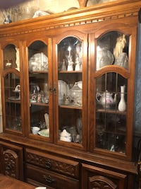 Brown wooden china cabinet with glass display cabinet New York, 10475