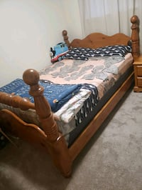 Queen bed with night stand, mattress and box spring