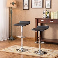 Two Brand New Black Height Adjustable Swivel Bar Stool Barstools with Thick Cushions  Walnut, 91788