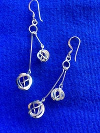 Pair of pretty silver long  earrings / Silver balls dangle high shine and fun long fine fashion  Alexandria, 22311