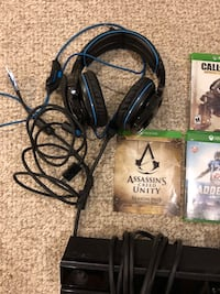 Xbox one console, headset, 3 controllers, 6 games, and Kinect Gaithersburg