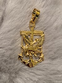 14k Gold Plated Anchor Pendant With Eagle