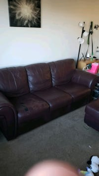 Free 3 seater  leather sofa and ottoman