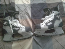 pair of black-and-gray skate shoes