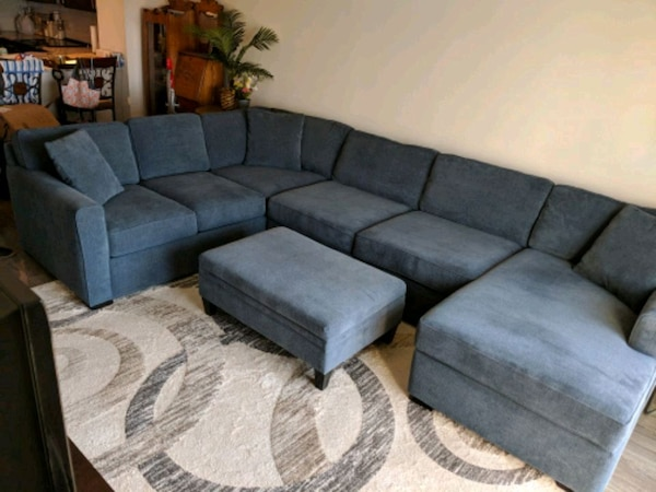 Large Custom Sectional Sofa With Chaise Ottoman