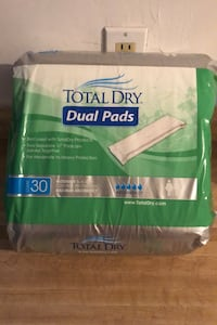 TOTAL DRY DUAL PADS, 11 inch Pads Joined  as 1 COUNT 30 Per package Bakersfield, 93308