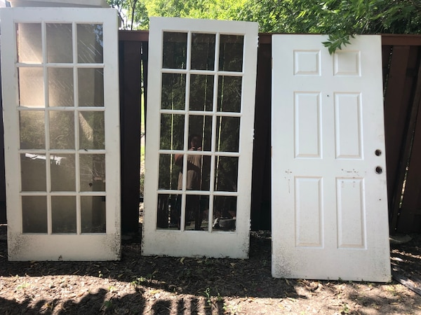 Used Two White Wooden Framed Glass Doors For Sale In Fate Letgo