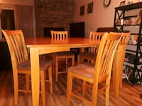 rectangular brown wooden table with six chairs dining set Parker, 80138