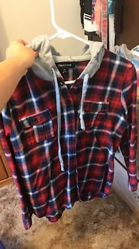 Red plaid flannel with hoodie Goodman, 64843